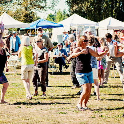 Getting in the groove at the Skagit River Salmon Festival.