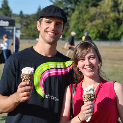 Cooling of with some ice cream at the Skagit River Salmon Festival.